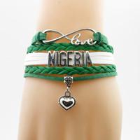 Amore Nigeria Bandiera nazionale Bracciale Cuore Charm Nigeria Flag Bracciali in pelle Bangle per donna e uomo gioielli regalo