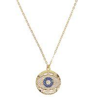 Мода 2019 турецкий Ожерелье сглаза проложили Синий прозрачный CZ Сглаз Очарование Длинные Женщины Ожерелье Подвески Звено Цепи, заполненные ювелирные изделия