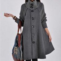 울 트렌치 코트 롱 재킷 여성 코트 망토 윈드 높은 칼라 느슨한 겨울 드레스 팜므 플러스 사이즈 의류