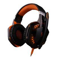 PC 게임을위한 마이크 스테레오베이스 LED 라이트와 G2000 오버 귀 게임 헤드폰 게임 헤드셋 이어폰 헤드 밴드