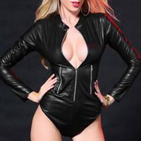 Porn Sexy Women Bodystocking en cuir PU Teddy Lingerie Fermeture eclaire manches longues Babydoll moulante Sexe Bodysuit Notte nuit
