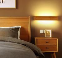 الحديثة أدى داخلي الجدار مصابيح خشبية مرآة الحمام ضوء الغرور أضواء تركيبات المكياج ومينير اليابان تصميم دافئ ديكور المنزل- I36