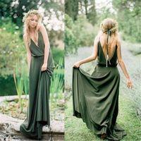2020 Boho Long Olive Green Green Dridade Vestidos De Casamento Vestidos De Festa Dupla V Neck Tintas Dridesmaid Dress Long Para Mulheres