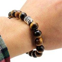 10 mm Mode plus récent Tiger Eye Perles Bouddha Hommes Bracelets prière de guérison méditation Chakra Yoga Turquoise Natuarl Pierre Femmes Bijoux EFJ796