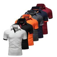 Marque d'été T-Shirt Mens couleur unie à manches courtes Slim Fit Col Stand Shirt Business Casual Vêtements pour hommes Taille M-2XL