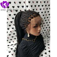 Горячий продавая коробка плетенка парик с младенцем Черного волоса бразильского полного парика фронт шнурок Термостойкого синтетическим Плетеным париком для чернокожих женщин