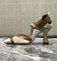Kadın Yeni Sürüm Ayakkabı Moda Orijinal Kutusu Colibri Mesh Deri Yüksek Topuk Sivri Burun arkası açık iskarpin 35-40 pompaları