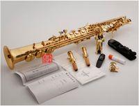 Aksesuarlar 2-Neckse ile Profesyonel Japonya YANAGISAWA S-991, S-W010 Bölünmüş Soprano saksofon Vernik altın Soprano saksafon müzik aletleri
