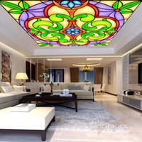 Personalizado direto da Fábrica mural 3d brilhante e colorido floral teto papel de parede sem costura TV sofá fundo da parede padrão pintado