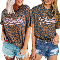 Blondie Sexy Tee Womens T Moda Verão shirt Leopardos Padrões de manga curta casual tops Tee Hot Girl