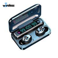 F9-10 TWS 무선 블루투스 5.0 이어폰 눈에 보이지 않는 이어폰 스테레오 시계는 소음 3 LED 전원 표시와 헤드셋을 게임을 취소 LED