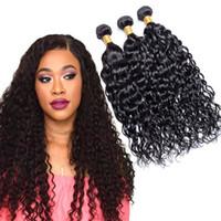 TOP Grade 9a brasileira Water Wave costurar cabelo virgem em ponto 100 do cabelo humano feixes de trama 3 extensão Pcs não transformados Mink cabelo
