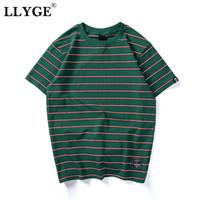 Männer T-shirts Lyge Harajuku Unisex Gestreiftes T-Shirt Top Sommer Oansatz Kurzarm Tops 2021 Männer Hip Hop Streetwear Casual Tees