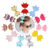 Candy Color Glitter Leather Bows Princess Hair Clips Hair Pi...