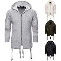 Solid Color Mens Sweater Cardigan Hooded Long Sleeve Mens Sw...