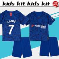 2019 Costume pour enfants # 10 HAZARD Home maillot de football bleu 19/20 # 7 KANTE Club League Kit uniformes de football Uniforme + jersey sur mesure