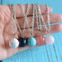 Balle ronde pendentif colliers améthyste cristal bleu turquoise perle chaîne à maillons en argent pour femmes hommes mode pierres naturelles bijoux cadeaux pas cher