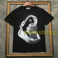 2020 년 최신 럭셔리 상어 이빨 t 셔츠 높은 품질 뷰티 스타 인쇄 t- 셔츠 디자이너 T 셔츠를 캐주얼 코튼 탑 인쇄 망
