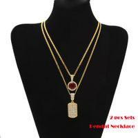 2pcs ensembles pendentif noir / rouge / bleu mini rondes pierres précieuses grand strass dog tag cubain chaîne deux collier hommes femmes hip hop bijoux 2 colliers