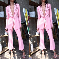 Light Pink 2019 Mother Of The Bride Pantalone Abiti da donna Business Abiti formali Abbigliamento per matrimoni Abiti Smoking Blazer