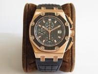 JF Yeni Lüks erkek saatler En İyi kalite ETA 7750 Otomatik hareketi Chronograph 26030 Buzağı deri kayış PVD 18 K Gül altın vaka Erkekler İzle