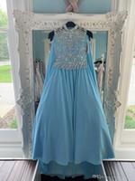 Blue Chiffon Pageant платья с накидкой для подростков 2019 с Wrap Bling стразы длинные конкурсные платья для маленьких девочек формальная вечеринка Рози