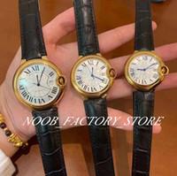 Luxus-Fabrik 3 Größe blauer Ballon-Gold-Damenuhr Schweiz Automatik-Uhrwerk schwarze Lederband Dame Armbanduhr Original Kaste