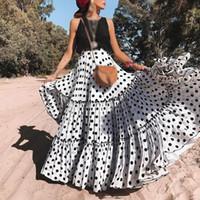 Conjuntos de CALOFE Mulheres Mulheres Tops + Saias Polka Dot Casual Vestido Plus Size longa plissada Maxi mangas Verão Boho Praia