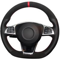 Черная натуральная кожа Черная замша Чехол руля для Mercedes-Benz C200 C250 C300 B250 B260 A200 A250 Sport CLA220