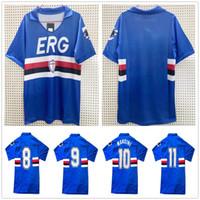 1990 1992 Retro Sampdoria Soccer Jerseys 90 91 UC Sampdoria Vintage Mancini Vialli Cerezo Attilio Lombardo Custom Home Football Shirt