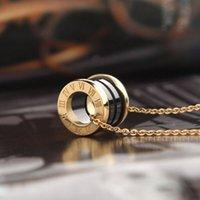 Klassische Frauen Luxus Designer Halskette Schwarz Weiß Römische Ziffer Keramik Kreis Anhänger Gold Kette Herren Halskette Edelstahl Schmuck