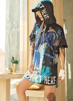 Fashion-19ss new womans Vêtements T-shirts à capuche hip hop sports lettre bleu sang imprimer T-shirt grande taille lâche jupe Blouse long Tees