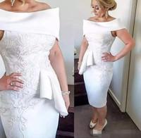 Elegante madre blanca de vestidos de novia Vestidos de la vaina de Bateau del hombro satinado Longitud del té aplique de encaje más tamaño vestido de fiesta de invitados de boda