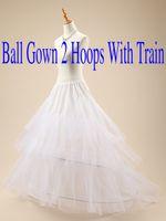 Kadınlar Yeni Geliş Katı Uzunluk için Tren Düğün Gelin Kayma Tutu Etek ile Ruffled Balo Petticoats 2 çemberler / Yüzüklerin yukarı Dantel
