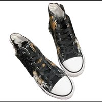 New flat-bottom heavy-duty strass decorazione high-top in tela graffiti old retro wild casual small