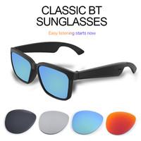 مصمم النظارات الذكية بلوتوث 5.0 المرأة الكلاسيكية الرجال النظارات الشمسية دعم التحكم الصوتي الأزياء اللاسلكية uva / UVB حماية