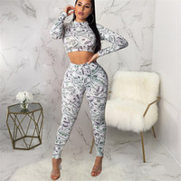 Dollar Print Club Sexy Zweiteiler Crop Top Und Hose Rollkragen Langarm Trainingsanzug Winter Sets Damen Club Set Outfits