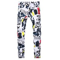 US Europe Fashion Coloured Print Stretch Jeans Cool Streetwe...