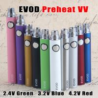 Pulsante Preriscaldare EVOD VV regolabile 510 Discussione vapes batteria con USB Charger 650 900 1100 mAh tensione variabile della batteria di vapore Penne