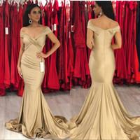 Sereia Prom vestidos de noite 2019 Elegante off ombro champanhe cetim sexy vestidos de noite varrer trem zipper up