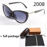 Nuovo 2008 Fashion Designer Sunglasses Catena di metallo Catena di protezione UV Lady Brand Occhiali da sole 3 colori con pacchetto