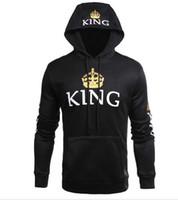 Popüler Çiftler modası Kraliçe Kral Baskılı Kazak Tişörtü O-Boyun Casual Spor Streetwear Drop Shipping Tops