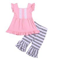 new girls FLY SLEEVED cotton LACE dresses & kids GRAY white ...
