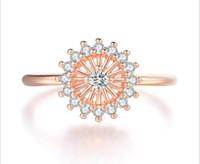 Con pietre laterali piccoli anelli margherita per le donne delicate cristallo sole anello fiore micro intarsio zircone 3 color wedding party regalo gioielli moda gioielli