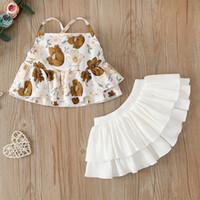 Bebek Gilrs Çiçek Parantez + Kek Etekler Set Kıyafetler Yaz Çocuk Butik Giyim Bebek Toddlers Backless 2 PC Suit