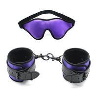 Sexy menottes en cuir noir avec masque pour les yeux Blindfold BDSM Bondage Sets exotiques Bondage Sex Toys pour Couples adultes Jeux Femmes