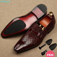 QYFCIOUFU Wohnung Italien handgemachte formale Schuhe Männer Mode-Partei-Hochzeit Büro Male Eleganter Schuh-echtes Leder Oxford Schuhe für Männer