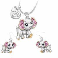 Te amo Joyas de animales Juego de Joyas Diamond Elephant Owl Bee Collar Pendientes Conjunto Collares Mujeres Joyería de Moda Regalo