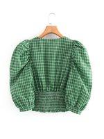 2020 Green Женские Блузки Рубашки Одежда Летний новый европейский и американский стиль ретро шаблон Печать v воротник пузырь рукав