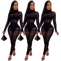 Uzun Kollu BODYCON Jumpsuit Kadınlar Romper Siyah dantelli Katlama Seksi Şeffaf Mesh Şeffaf tulum Kulübü Partisi Kıyafet See Through